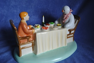 Coalport Snowman Dinner For Two quality figurine
